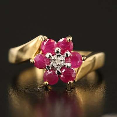 Sterling Ruby and Diamond Floral Bypass Ring