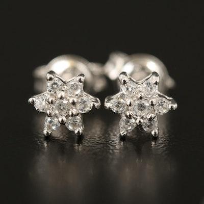 Sterling White Zircon Cluster Earrings