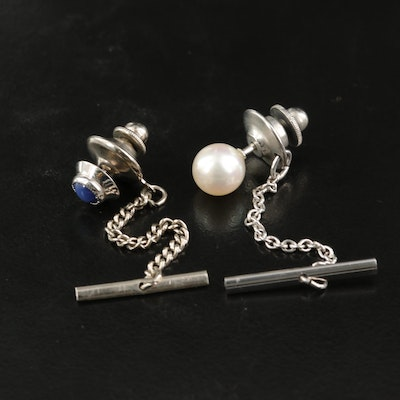 Vintage 14K and 18K Tie Tacks Featuring Pearl and Star Sapphire