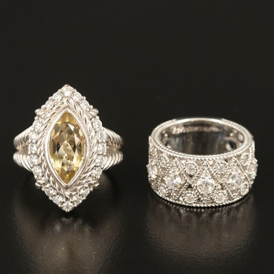 Judith Ripka Sterling Citrine and Cubic Zirconia Rings