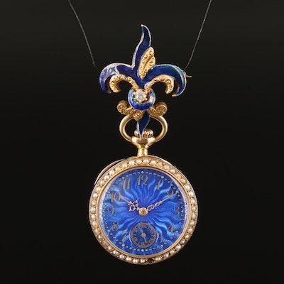14K Blue Enamel and Seed Pearl Pocket Watch with 14K Diamond Fleur de Lis Pin