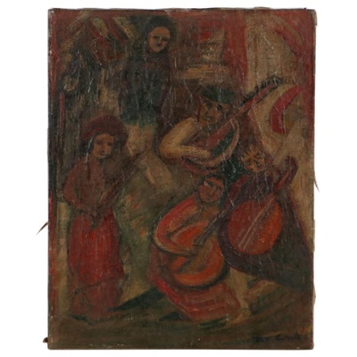 Oil Painting of Stylized Figures Playing Instruments, Early 20th Century