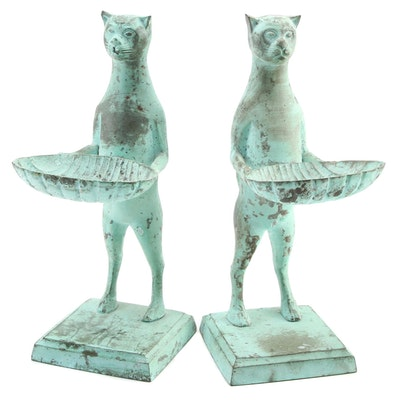 Pair of Cast Iron Cat Holding Seashells Form Doorstops