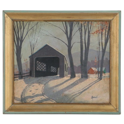 Oil Painting of Covered Bridge in Winter