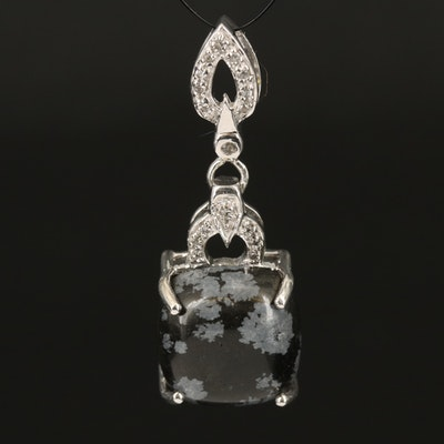 Sterling Snowflake Obsidian and White Topaz Drop Pendant