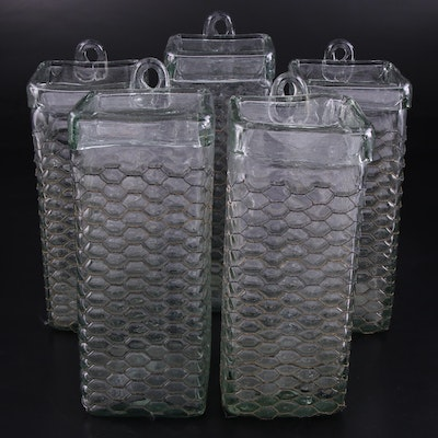 Mexican Blown Recycled Glass with Chicken Wire Wall Pockets