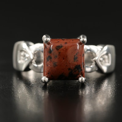 Sterling Mahogany Obsidian and White Topaz Ring