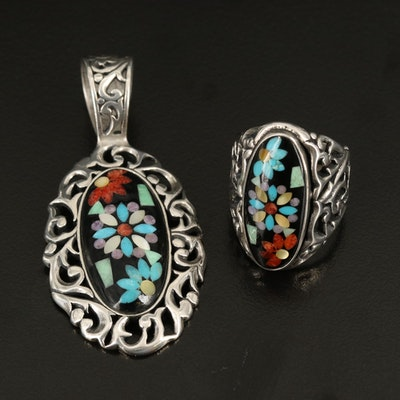 Carolyn Pollack for Relios Sterling Gemstone Ring and Pendant Set
