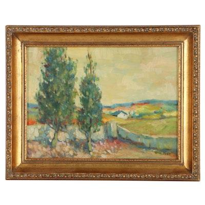 Pastoral Landscape Oil Painting, 1971