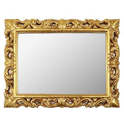 Baroque Style Rectangular Giltwood Framed Wall Mirror