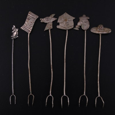 Taxco and Other Sterling Silver Horderves Serving Picks