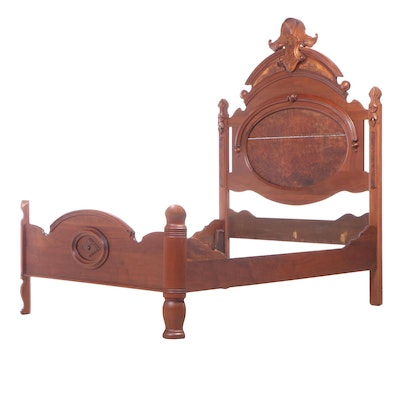 American Renaissance Revival Walnut and Burl Walnut Bed Frame, Late 19th Century
