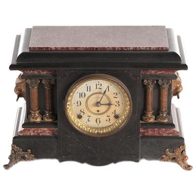 Seth Thomas Red Adamantine Mantel Clock, Early 20th Century