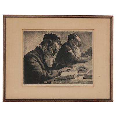 "Joseph Margulies Aquatint Etching ""Scholars"""