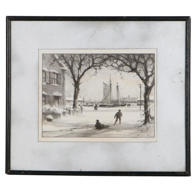 Gordon Hope Grant Lithograph of Winter Scene