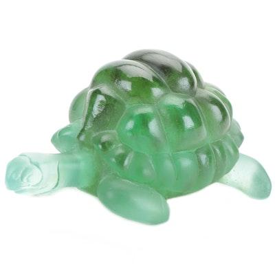 Daum Art Glass Pâte-de-verre Turtle Figurine, Late 20th Century