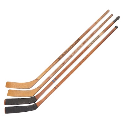 Northland and Canadian Wooden Hockey Sticks, Mid-20th Century
