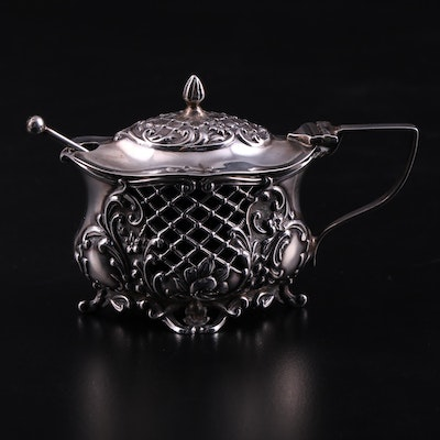 William Aitkin Sterling Silver Mustard Pot with Cobalt Glass Insert, 1904