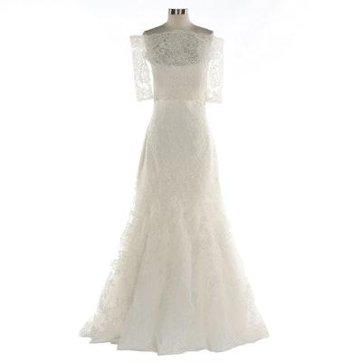 AmeliaSposa Lace Sleeveless Wedding Gown with Bolero