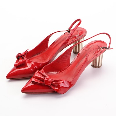 Salvatore Ferragamo Aulla 55 Slingbacks in Red Patent Leather with Bow