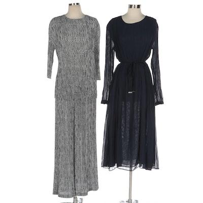 Adolfo Dominguez Pleated Navy Dress and Two Piece Grey Print Dress