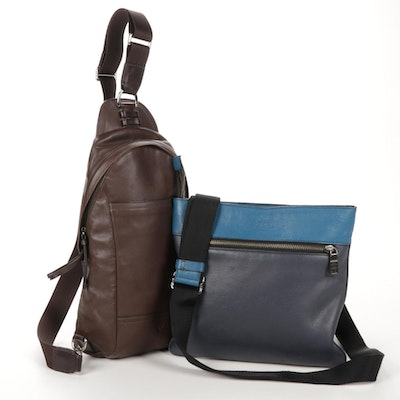 Coach Blue Colorblock Leather Cross-Body Pouch and Brown Leather Sling Bag