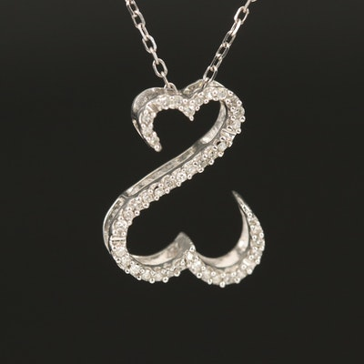"Jane Seymour ""Open Heart"" 14K 0.10 CTW Diamond Pendant Necklace"