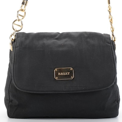 Bally Flap Shoulder Bag in Black Nylon with Gold-Tone Accents