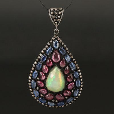 Sterling Opal, Diamond, Kyanite and Gemstone Pendant