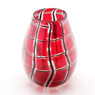 Signed Ballarin Cane Worked Murano Art Glass Vase