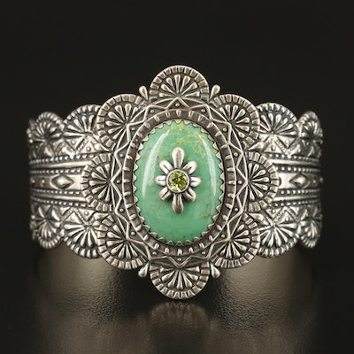 Carolyn Pollack for Relios Sterling Turquoise and Peridot Cuff
