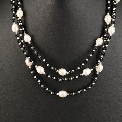 Sterling Silver Black Onyx and Pearl Graduated Three Strand Necklace