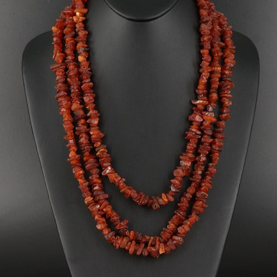 Endless Amber Chip Necklace