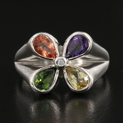 Sterling Silver Amethyst Sapphire and Zircon Ring with Additional Gemstones