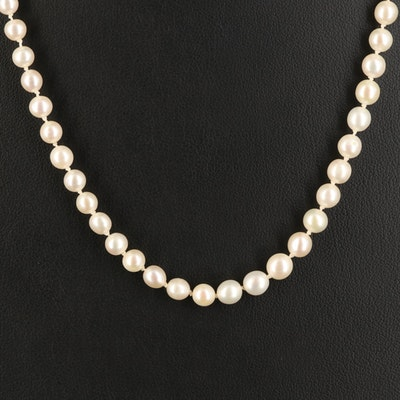 14K Near-Round to Oval Pearl Necklace