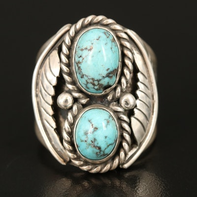 Southwestern Artisan Signed Sterling Turquoise Ring