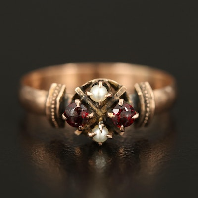 Victorian 9K Garnet and Seed Pearl Ring