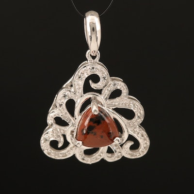 Sterling Mahogany Obsidian and Topaz Pendant