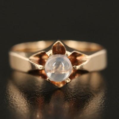 Vintage 10K Moonstone Sphere Solitaire Ring