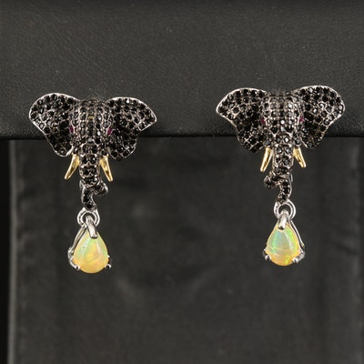 Sterling Spinel Elephant Earrings with Ruby Eyes and Opal Drops