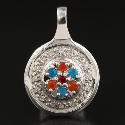 Sterling Silver Fire Opal Zircon and Apatite Pendant