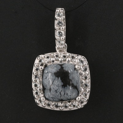 Sterling Silver Snowflake Obsidian and White Topaz Halo Pendant