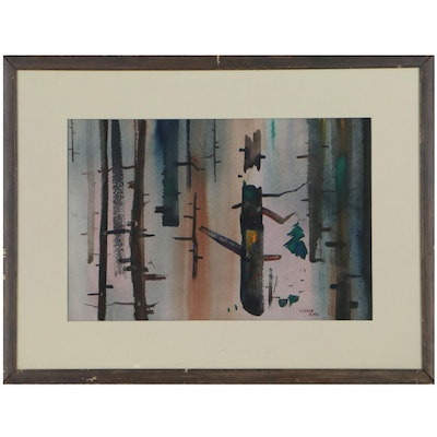 V. Childe Abstract Landscape Watercolor Painting