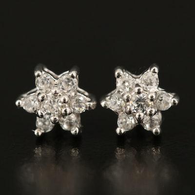 Sterling Zircon Star Stud Earrings