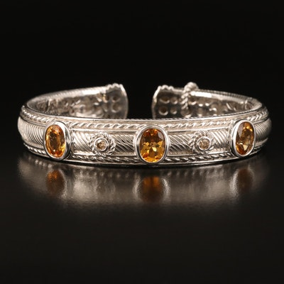 Judith Ripka Sterling Citrine and Brown Diamond Kick Cuff with Heart Charm