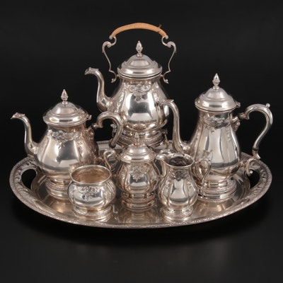 """International Silver """"Prelude"""" Chased Sterling Silver Tea Service"""