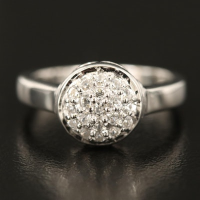 Sterling Zircon Cluster Domed Ring
