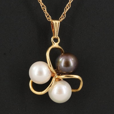 Streling Silver and Cultured Pearl Pendant Necklace