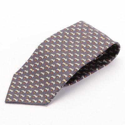 Hermès 5341 TA Rabbit and Dog Printed Hand-Stitched Silk Twill Necktie
