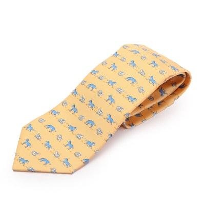 Hermès 7894 MA Hand-Stitched Horse and Rocking Horse Print Silk Twill Necktie